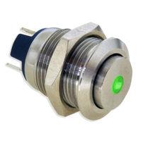 Interrupteur à tête champignon / unipolaire / lumineux (LED) / en acier inoxydable