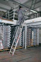 Échelle en aluminium / pliante / pour entrepôts / de sécurité
