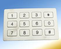 Clavier numérique 12 touches / encastrable / en élastomère / en acier inoxydable