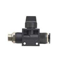 Raccord push-in / droit / pneumatique / avec vanne d'arrêt intégrée