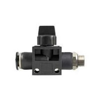 Raccord push-to-lock / droit / pneumatique / avec vanne d'arrêt intégrée