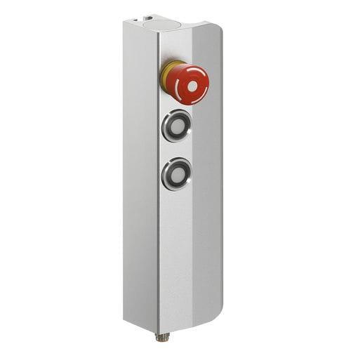 poignée étrier / en aluminium / en L / avec bouton poussoir