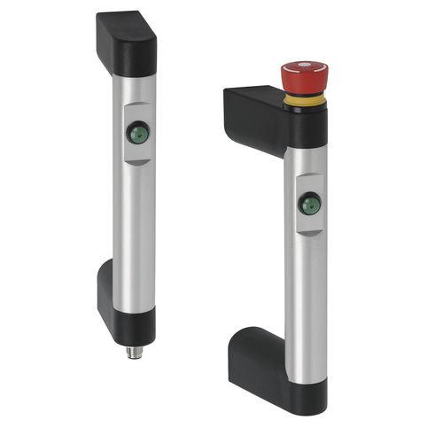 poignée fonctionnelle / pour porte / en aluminium / avec interrupteur d'arrêt d'urgence