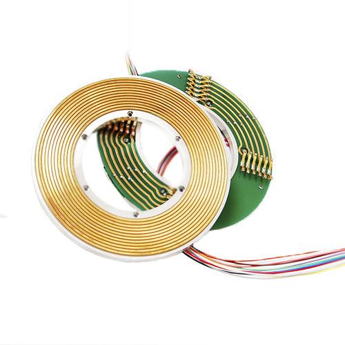 collecteur tournant électrique / arbre traversant / en 2 parties / plat