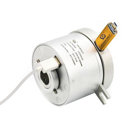 collecteur tournant USB / arbre traversant / en aluminium anodisé
