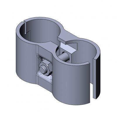 connecteur de tube rond / en acier / collier double