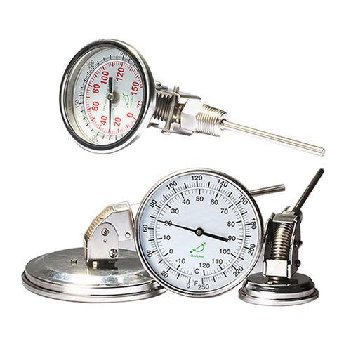 thermomètre bimétallique / à cadran / à visser / en acier inoxydable