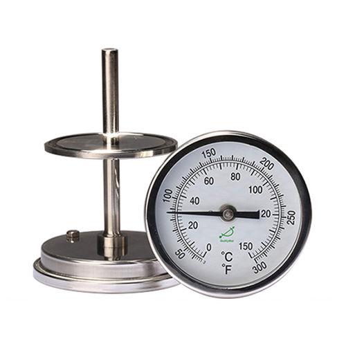 thermomètre bimétallique / à aiguille / à bride / en acier inoxydable