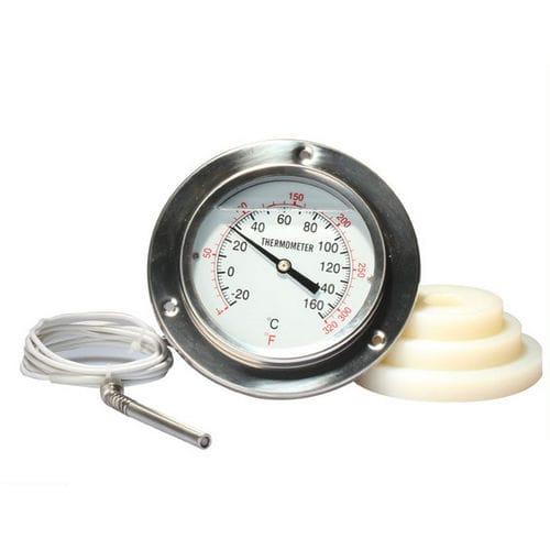 thermomètre à dilatation de gaz à capillaire / à cadran noyé / à bride / en acier inoxydable