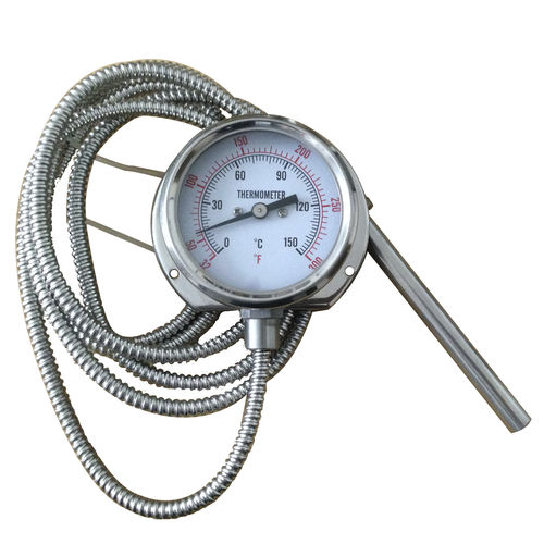 thermomètre à dilatation de gaz à capillaire / à cadran / à insertion / à bride