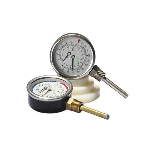 thermo-manomètre à cadran / à tube de Bourdon / pour applications marines / pour huile