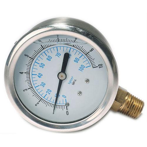 manomètre à cadran noyé / à tube de Bourdon à liquide / pour huile / pour applications marines