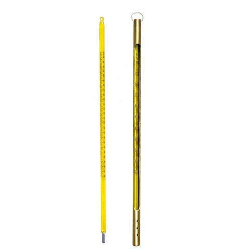 thermomètre à dilatation de liquide / à lecture directe / en acier inoxydable / en verre
