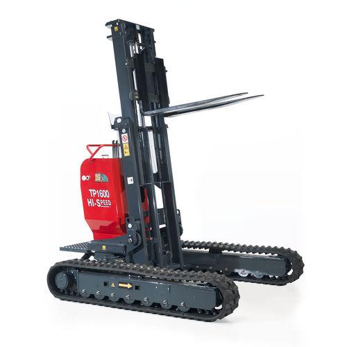 chariot élévateur électrohydraulique / à conducteur porté debout / sur chenilles / pour palette