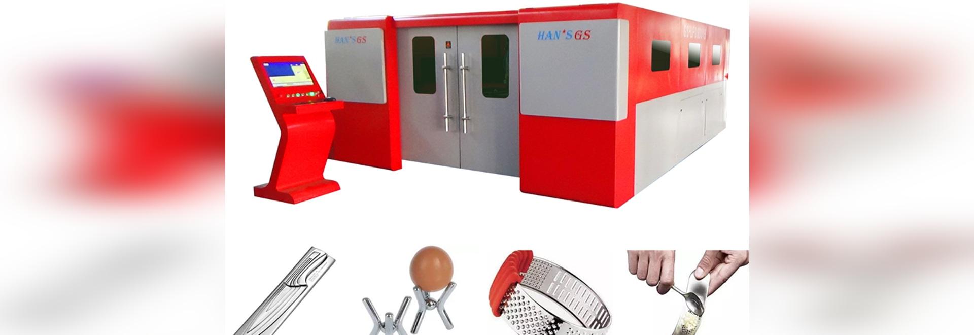 2 ans de garantie de HANS GS de fibre de laser de découpeuse en métal sont très utilisés dans l'industrie de vaisselle de cuisine