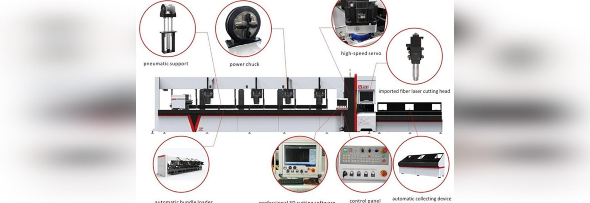 découpeuse inoxydable 3000w/d'acier au carbone tube de fibre de laser avec le chargeur automatique de paquet