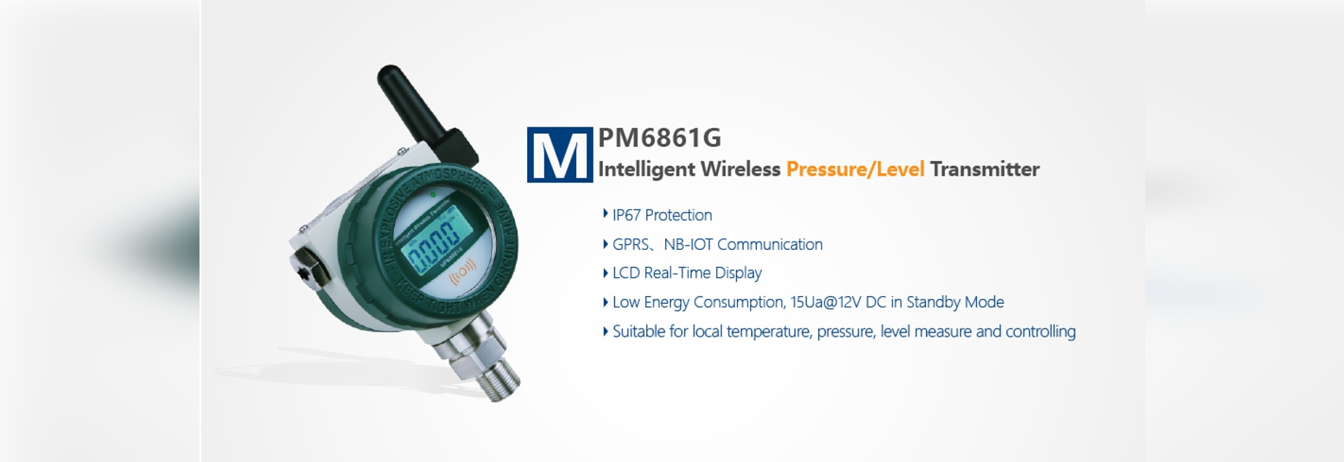 Pression sans fil intelligente/émetteur de niveau MPM6861G (W) pour l'eau souterraine