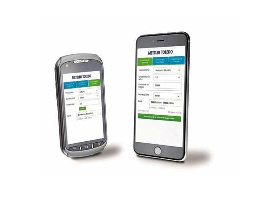 L'appli mobile permet des conversions de concentration et de conductivité