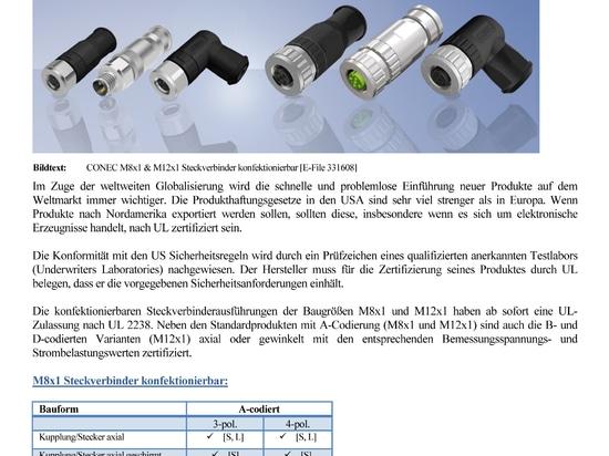 Approbation d'UL pour les connecteurs circulaires de CONEC, champ connectable
