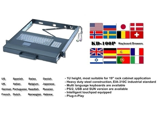 KD-100P : tiroir industriel du clavier 1U
