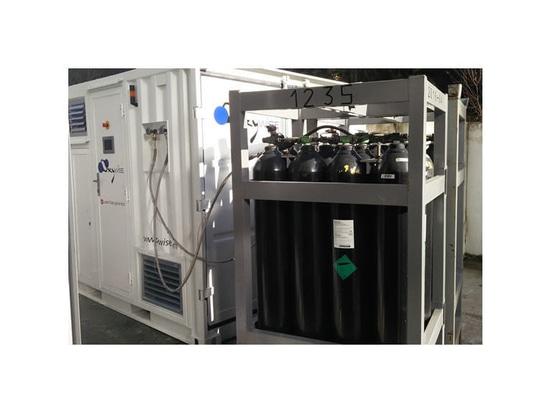 Générateur de LaserGas construit dans un conteneur fonctionnant au Portugal