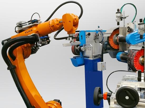 Zone robotisée avec chargement et déchargement automatique