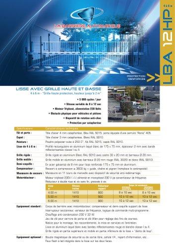 LBA 12 HP (Lisse avec grille haute et basse 4 à 6 m - Grille haute protection, hauteur jusqu'à 2 m)