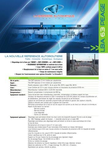 LBA 63 PG (LA NOUVELLE REFERENCE AUTOROUTIERE  Fiable ? Innovante ? Economique - Ecologique)