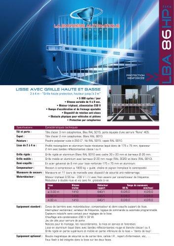 LBA 86 HP (Lisse avec grille haute et basse 2 à 4 m - Grille haute protection, hauteur jusqu'à 2 m)