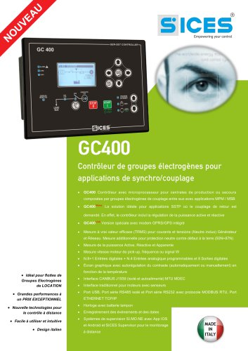 GC400 - Contrôleur pour groupes électrogènes pour applications de synchro/couplage