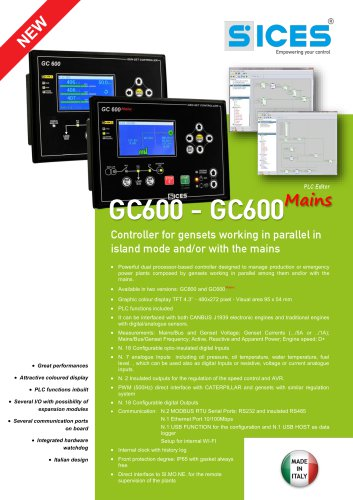GC600 - Synchro/Parallel genset controller with colour display