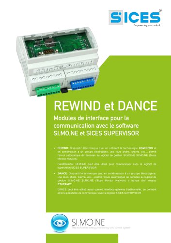 REWIND&DANCE - Interfaces de communication avec les software SI.MO.NE et SICES SUPERVISOR