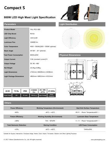 Compact S LED high mast light fixture| 800W led flood light specification