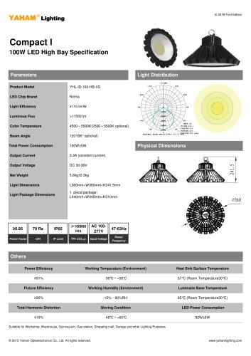 LED HIGH BAY LIGHT |100w LED High Bay Light Specification