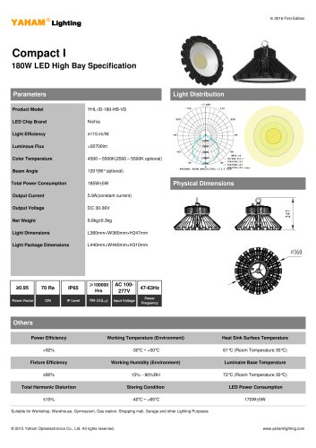 YAHAM HIGH BAY LIGHT |180w LED High Bay Specification