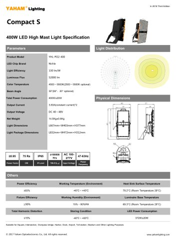 yaham LED High Mast light| compact s LED flood light fixture| 400W led high masr light specification