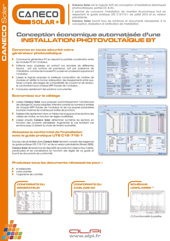 Puissance Panneau Photovoltaique intérieur caneco solar - logiciel pour la conception de projet photovoltaïque