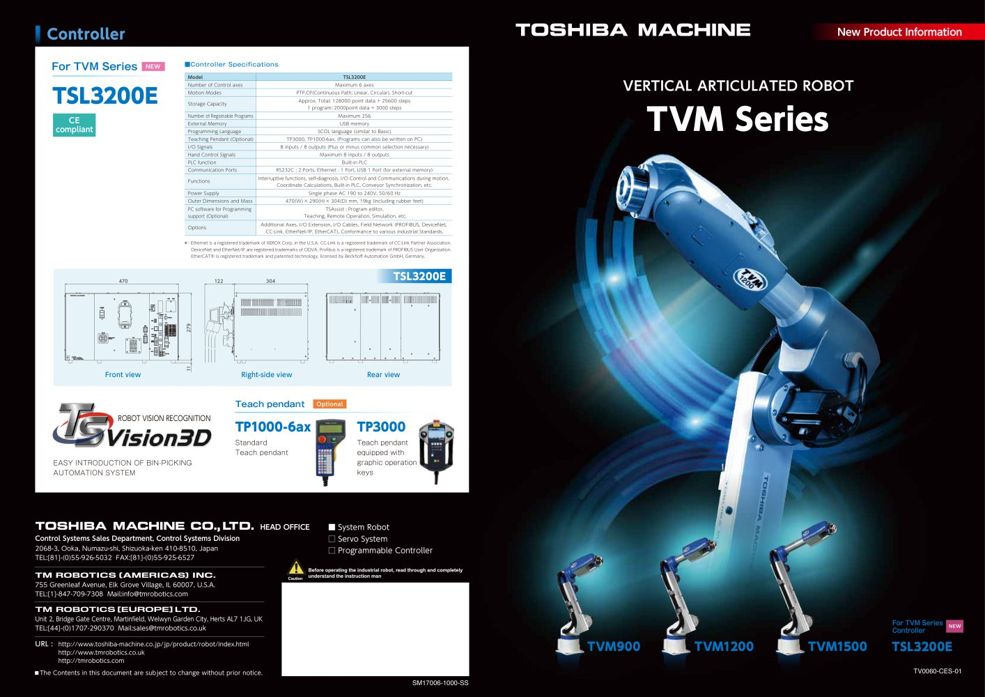 Tvm Series 6 Axis Robots Tm Robotics Catalogue Pdf
