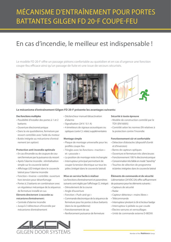 Le Mécanisme Du0027entraînement Pour Porte Battante Avec Fonction Coupe Feu  (FD20 F)   1 / 2 Pages