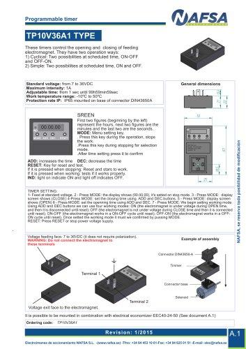 catalogue Programmable timer TP10V36A1