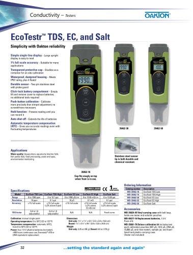 EcoTestr™ TDS, EC, and Salt