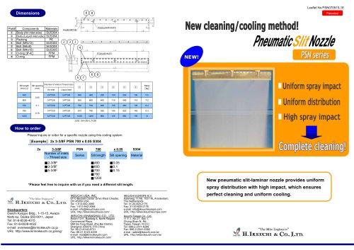 Pneumatic SLIT nozzle - PSN series
