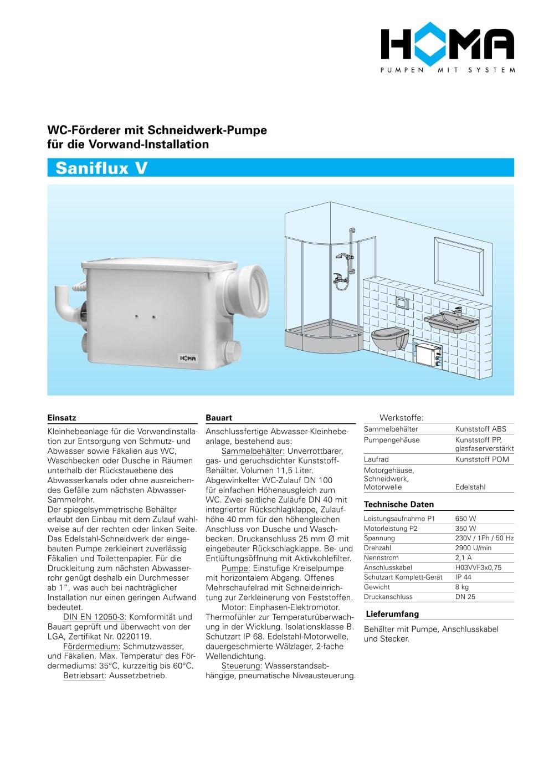 saniflux v - homa pumpenfabrik - catalogue pdf | documentation