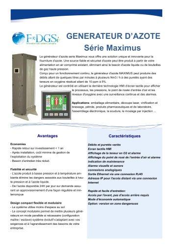 Générateur d'azote Maximus pour l'industrie et les laboratoires