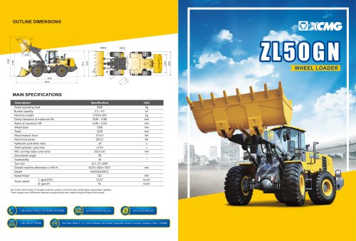XCMG 50Ton Wheel loader ZL50GN construction