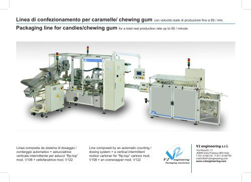 Packaging line for candies/chewing gum