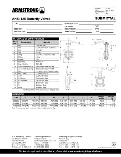 Boosters, ANSI 125 butterfly valves - submittal