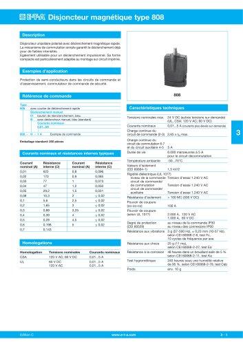 Disjoncteur magnétique type 808