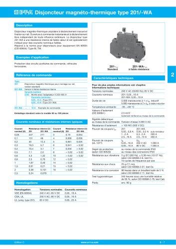 Disjoncteur magnéto-thermique type 201/-WA