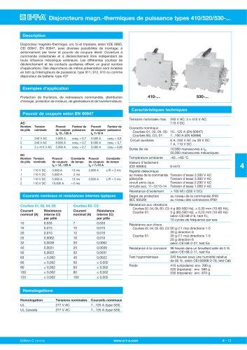 Disjoncteurs magn.-thermiques de puissance types 410/520/530